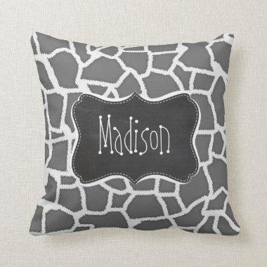 Dim Gray Giraffe Animal Print; Chalkboard Throw Pillow