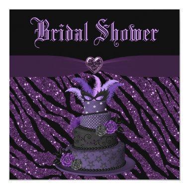 Diva Cake & Printed Zebra Glitter Bridal Shower Invitations