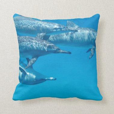 Dolphin Dolphins Fish Dive Ocean Water Swim Beach Throw Pillow