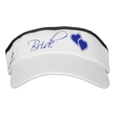 Double Blue Hearts Bride Visor