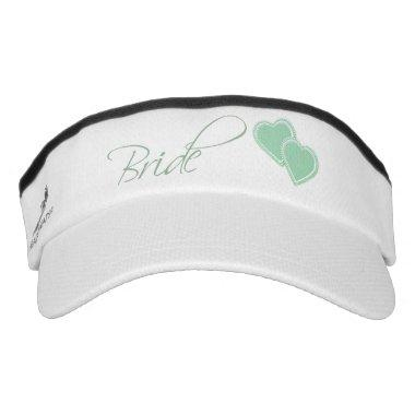 Double Hearts Mint Green Bride Visor