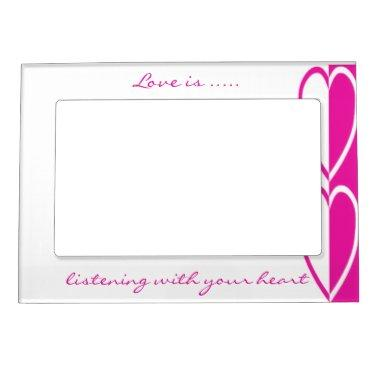 Double Hot Pink Hearts Magnetic Frame- customize Magnetic Frame