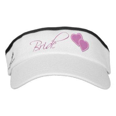 Double Pink Hearts Bride Visor