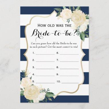 Double Side Floral Navy Bridal Shower Games Advice Card