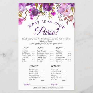 DOUBLE SIDED Purple Floral Bridal Shower Game