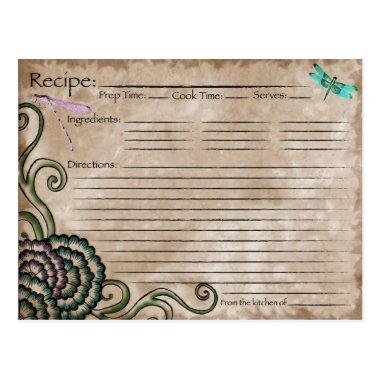 Dragonfly Recipe Invitations
