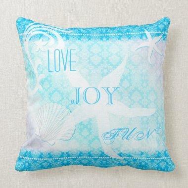 Dreaming Starfish Blue Damask Beach House Throw Pillow