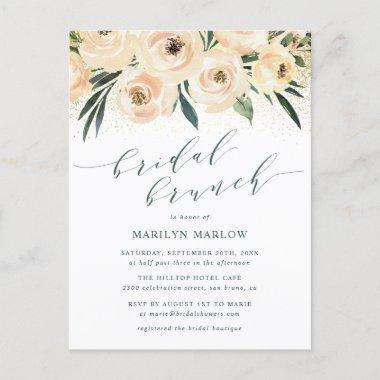 Dreamy Rose & Gold Glitter Bridal Shower Brunch Invitation PostInvitations