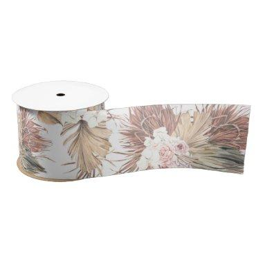 Dried Palm Leaves Tropical Foliage Watercolor Satin Ribbon
