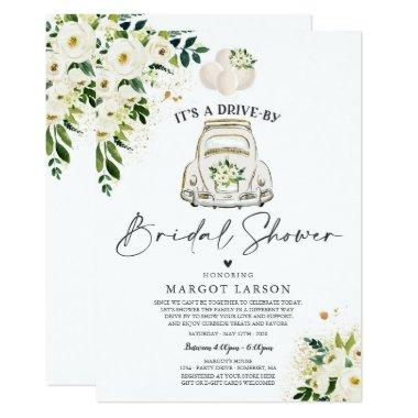 Drive By Bridal Shower Invitations White Floral