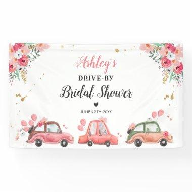 Drive By Floral Pink Drive Through Shower Backdrop Banner