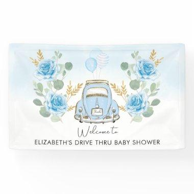 Drive Thru Baby Shower Blue Gold Floral Welcome Banner