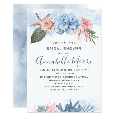 Dusty Blue and Blush Beach Bridal Shower Invitations