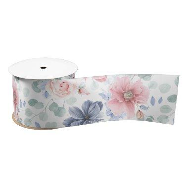Dusty Blue and Dusty Rose Floral Botanical Pattern Satin Ribbon