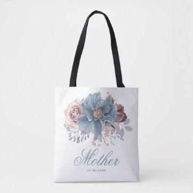 Dusty Blue and Mauve Floral Elegant Wedding Tote Bag