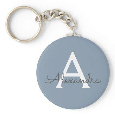 Dusty Blue and White Monogrammed Keychain