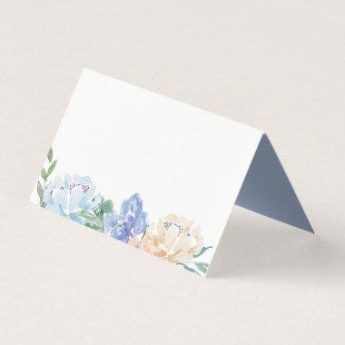 Dusty Blue Florals Buffet Food Label
