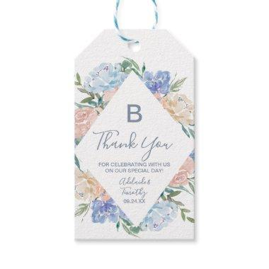 Dusty Blue Florals Monogram Thank You Favor Gift Tags