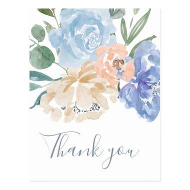 Dusty Blue Florals Thank You Post