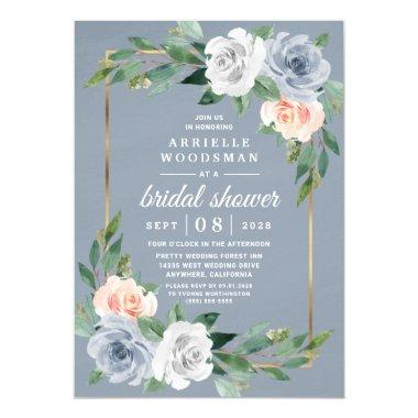 Dusty Blue Gold Blush Pink Peach Bridal Shower Invitations