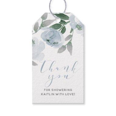 Dusty Blue Gray Watercolor Bridal Shower Favor Gift Tags