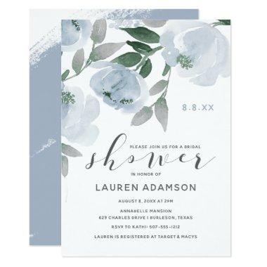 Dusty Blue & Gray Watercolor Bridal Shower Invitations