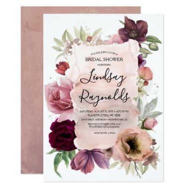Dusty Pink Burgundy Floral Vintage Bridal Shower Invitations