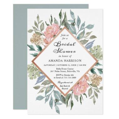 Dusty Pink Rustic Floral Pastel Chic Bridal Shower Invitations