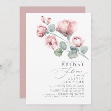 Dusty Rose Floral Elegant Minimal Bridal Shower Invitations