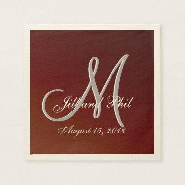 Earth Tone Red 3d Monogram Paper Napkin