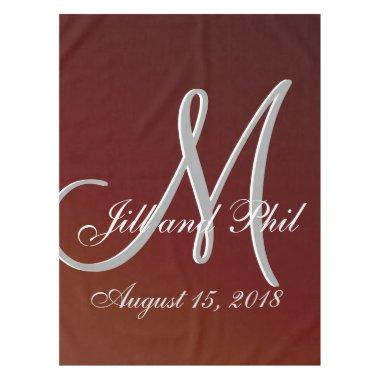 Earth Tone Red 3d Monogram Tablecloth
