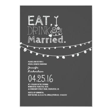 Eat Drink And Be Married Bridal Shower Invitations
