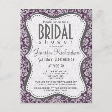 Eggplant Purple Damask Invitation PostInvitations