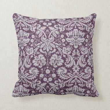 Eggplant Purple Damask Throw Pillow
