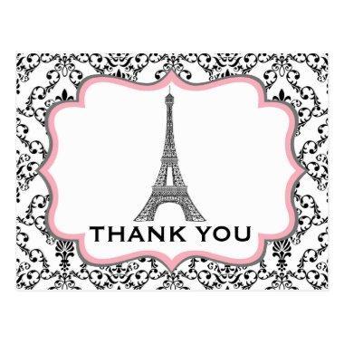 Eiffel Tower Pink Bridal Shower Thank You PostInvitations