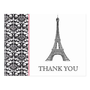 Eiffel Tower Pink Bridal Shower Thank You PostInvitations