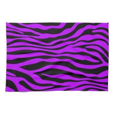 Electric Purple Zebra Stripes Animal Print Hand Towel