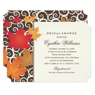 Elegant Autumn Fall Leaves Brown Bridal Shower Invitations