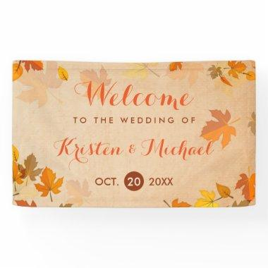 Elegant Autumn Maple Leaves Fall Wedding Banner
