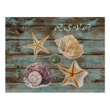 elegant barnwood seashells beach wedding rsvp post