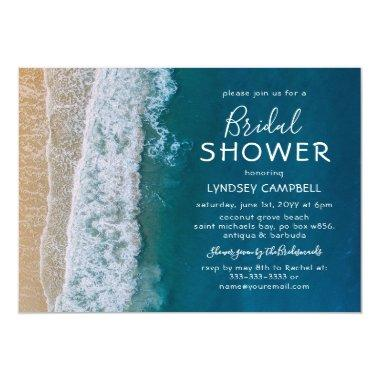 Elegant Beach Tropical Ocean Bridal Shower Invitations
