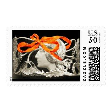 ELEGANT BEAUTY / LADY WITH RED BOW AND FLOWERS POSTAGE