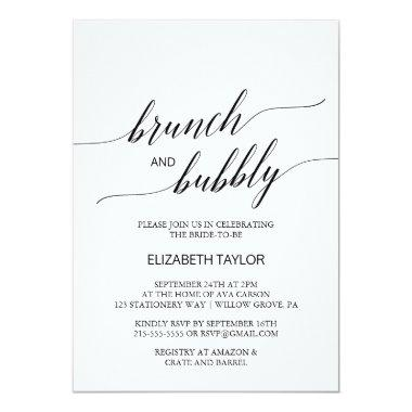 Elegant Black Calligraphy Brunch and Bubbly