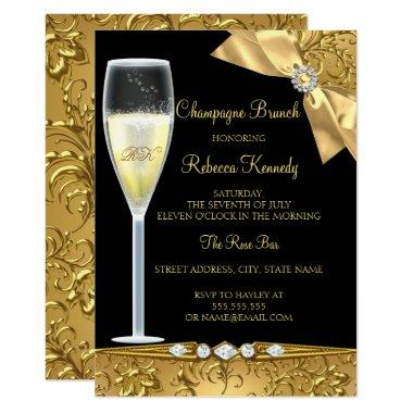 Elegant Black Gold Damask Champagne Brunch Invite