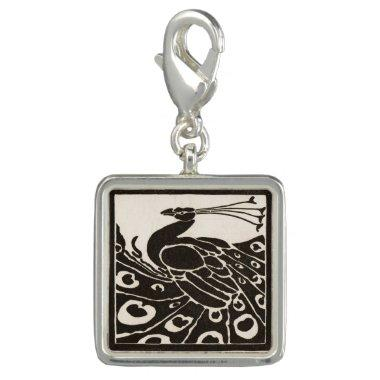 ELEGANT BLACK WHITE PEACOCK CHARM