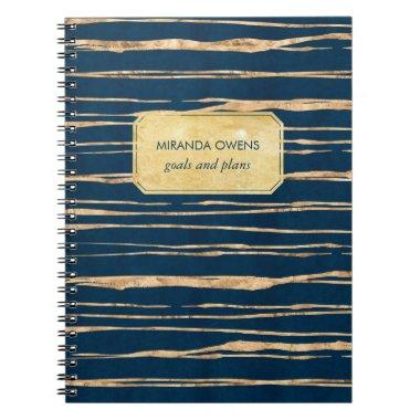 Elegant Blue and Faux Gold Foil Notebook