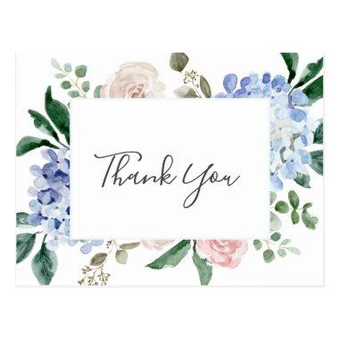 Elegant Blue Hydrangea | White Thank You PostInvitations