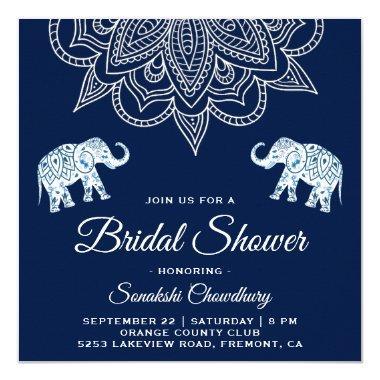 Elegant Blue Mandala Indian  Invite