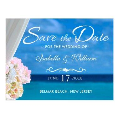 Elegant Blue Ocean Beach Summer Save the Date Post