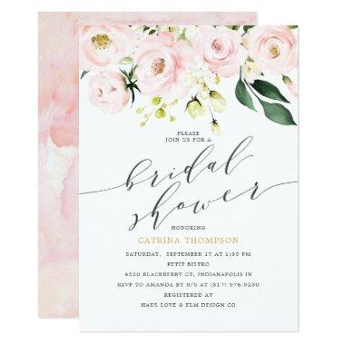 Elegant Blush Floral and Eucalyptus Bridal Shower Invitations